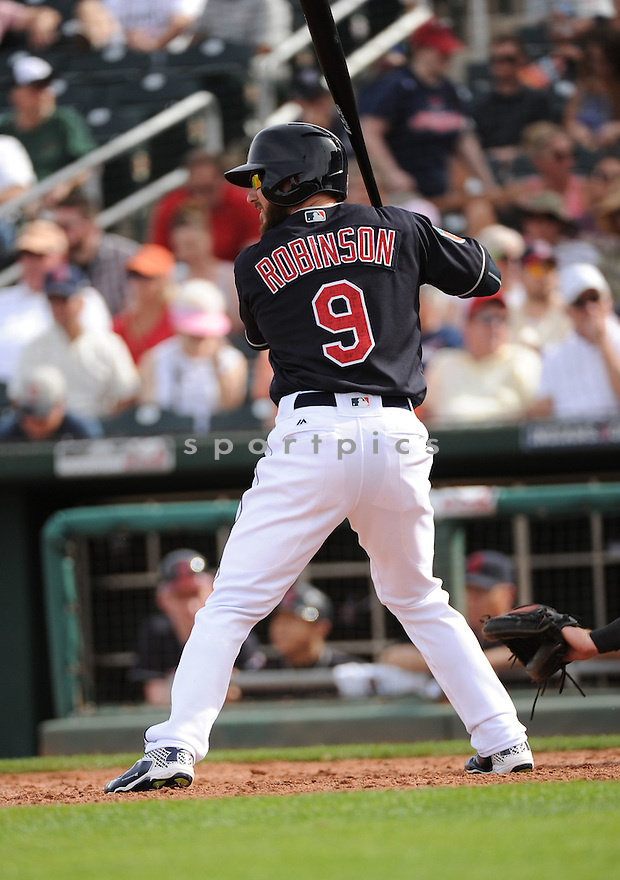 Cleveland Indians Shane Robinson (9) during a pre-season game against the Cincinnati Reds on March 1, 2016 at Goodyear Ballpark in Goodyear, AZ. The Reds beat the Indians 6-5.