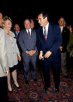 Montreal (Qc) CANADA - File Photo - May 1996 -<br /> <br /> Lucien Bouchard,  Leader Parti Quebecois (from Jan 29, 1996 to March 2, 2001). seen in a May 1996 file photo with Bernard Landry.<br /> <br /> <br /> After the Yes side lost the 1995 referendum, Parizeau resigned as Quebec premier. Bouchard resigned his seat in Parliament in 1996, and became the leader of the Parti Qu&Egrave;b&Egrave;cois and premier of Quebec.<br /> <br /> On the matter of sovereignty, while in office, he stated that no new referendum would be held, at least for the time being. A main concern of the Bouchard government, considered part of the necessary conditions gagnantes (&quot;winning conditions&quot; for the feasibility of a new referendum on sovereignty), was economic recovery through the achievement of &quot;zero deficit&quot;. Long-term Keynesian policies resulting from the &quot;Quebec model&quot;, developed by both PQ governments in the past and the previous Liberal government had left a substantial deficit in the provincial budget.<br /> <br /> Bouchard retired from politics in 2001, and was replaced as Quebec premier by Bernard Landry.
