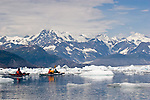 Alaska, Prince William Sound, Sea kayaker, Columbia Bay, Columbia Glacier, Icebergs, Brash Ice, USA, David Fox, Elliot Marks, Galen Tritt, released,.