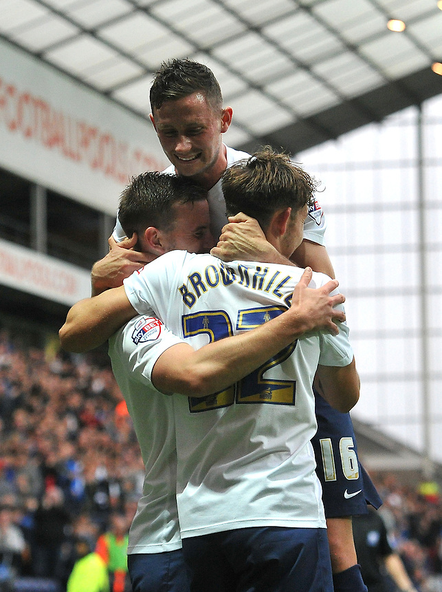 Preston North End's Marnick Vermijl is congratulated on  scoring his team's first goal, his first for the club<br /> <br /> Photographer Dave Howarth/CameraSport<br /> <br /> Football - Capital One Cup Second Round - Preston North End v Watford - Tuesday 25 August 2015 - Deepdale - Preston<br />  <br /> &copy; CameraSport - 43 Linden Ave. Countesthorpe. Leicester. England. LE8 5PG - Tel: +44 (0) 116 277 4147 - admin@camerasport.com - www.camerasport.com