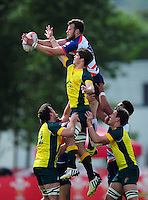 Charles Kingham of Great Britain wins the ball at a lineout. FISU World University Championship Rugby Sevens Men's Cup Final between Australia and Great Britain on July 9, 2016 at the Swansea University International Sports Village in Swansea, Wales. Photo by: Patrick Khachfe / Onside Images