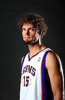 Dec. 16, 2011; Phoenix, AZ, USA; Phoenix Suns center Robin Lopez poses for a portrait during media day at the US Airways Center. Mandatory Credit: Mark J. Rebilas-
