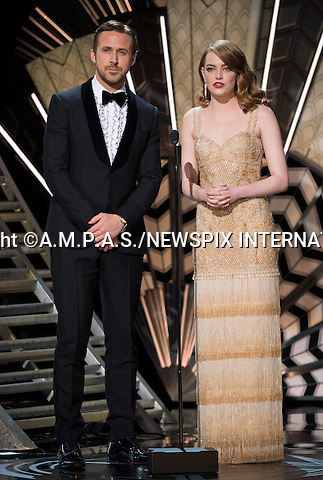 26.02.2017; Hollywood, USA: EMMA ROBERTS AND RYAN GOSLING<br /> at the 89th Annual Academy Awards at the Dolby&reg; Theatre in Hollywood.<br /> Stone won the Best Actress Oscar for her role in La La Land.<br /> Mandatory Photo Credit: &copy;AMPAS/NEWSPIX INTERNATIONAL<br /> <br /> IMMEDIATE CONFIRMATION OF USAGE REQUIRED:<br /> Newspix International, 31 Chinnery Hill, Bishop's Stortford, ENGLAND CM23 3PS<br /> Tel:+441279 324672  ; Fax: +441279656877<br /> Mobile:  07775681153<br /> e-mail: info@newspixinternational.co.uk<br /> Usage Implies Acceptance of Our Terms &amp; Conditions<br /> Please refer to usage terms. All Fees Payable To Newspix International