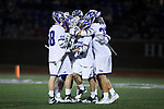 The High Point Panthers celebrate a second half goal during the game against the Virginia Cavaliers at Vert Track, Soccer & Lacrosse Stadium on February 20, 2018 in High Point, North Carolina.  The Cavaliers defeated the Panthers 18-12.  (Brian Westerholt/Sports On Film)