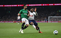 Tottenham Hotspur's Danny Rose and Brighton & Hove Albion's Martin Montoya<br /> <br /> Photographer Rob Newell/CameraSport<br /> <br /> The Premier League - Tottenham Hotspur v Brighton and Hove Albion - Tuesday 23rd April 2019 - White Hart Lane - London<br /> <br /> World Copyright © 2019 CameraSport. All rights reserved. 43 Linden Ave. Countesthorpe. Leicester. England. LE8 5PG - Tel: +44 (0) 116 277 4147 - admin@camerasport.com - www.camerasport.com