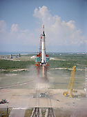 Cape Canaveral, FL - (FILE) -- Astronaut Alan Shepard is hurled into space atop a Mercury-Redstone rocket from Pad 5 at Cape Canaveral, Florida at 9:34 AM on Friday, May 5, 1961. Freedom 7 was the first American manned suborbital space flight, making Shepard the first American in space.  He later commanded the Apollo 14 mission, and was the fifth person to walk on the moon. .Credit: NASA via CNP