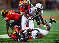 College Park, MD - NOV 25, 2017: Penn State Nittany Lions running back Miles Sanders (24) runs the football during game between Maryland and Penn State at Capital One Field at Maryland Stadium in College Park, MD. (Photo by Phil Peters/Media Images International)