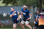 Kieran Whyte and Courtney Roberts collide as they both go to the air to claim a high ball. Counties Manukau Premier Counties Power Club Rugby Round 2, Game of the Week, between Te Kauwhata and Onewhero, played at Te Kauwhata on Saturday March 17th 2018. <br /> Photo by Richard Spranger.<br /> <br /> Onewhero won the game 43 - 10 after leading 21 - 10 at halftime.<br /> Te Kauwhata EnviroWaste  10 - Lani Latu try,  Caleb Brown 1 conversion, Caleb Brown 1 penalty.<br /> Onewhero 43 - Jackson Orr 2, Ilaisa Koaneti 2, Vaughan Holdt, Zac Wootten, Rhain Strang tries, Vaughan Holdt 4 conversions.