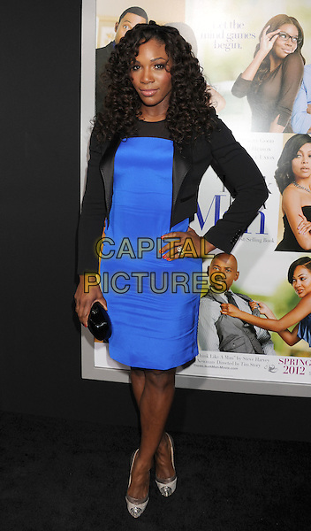 "Serena Williams.arriving at the Los Angeles Premiere of ""Think Like A Man"" at ArcLight Cinerama Dome in Hollywood, California, USA,.February 9th, 2012. .full length black hand on hip blue dress jacket clutch bag  .CAP/ROT/TM.©TM/Roth Stock/Capital Pictures"