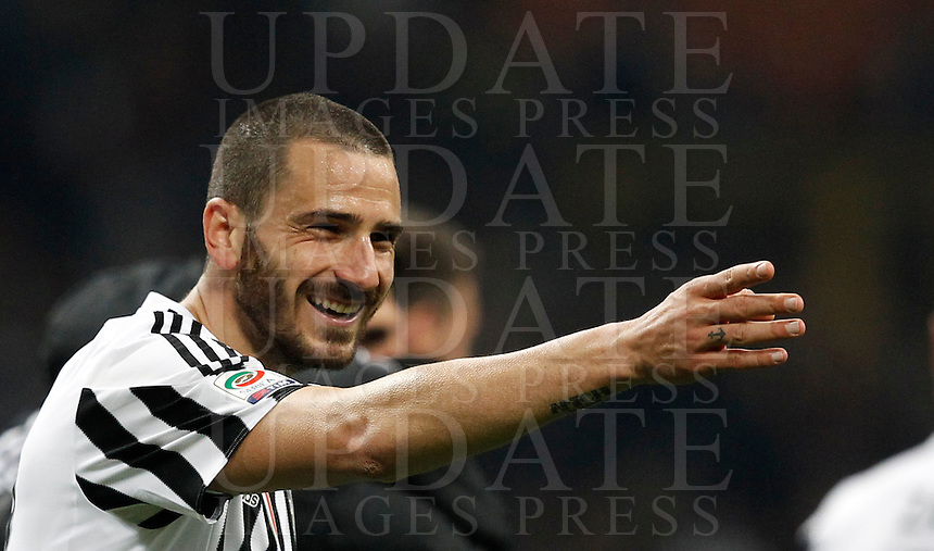 Calcio, Serie A: Milan vs Juventus. Milano, stadio San AC Juventus&rsquo; Leonardo Bonucci celebrates at the end of the Italian Serie A football match between AC Milan and Juventus at Milan's San Siro stadium, 9 April 2016. Juventus won 2-1.<br /> UPDATE IMAGES PRESS/Isabella Bonotto