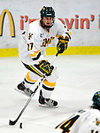 6 November 2009: University of Vermont Catamount defenseman Anders Franzon, a Freshman from Plattsburgh, NY, in third period action against the University of Massachusetts Lowell River Hawks at Gutterson Fieldhouse in Burlington, Vermont. The Hockey East rivals battled to a 3-3 tie. Mandatory Credit: Ed Wolfstein Photo