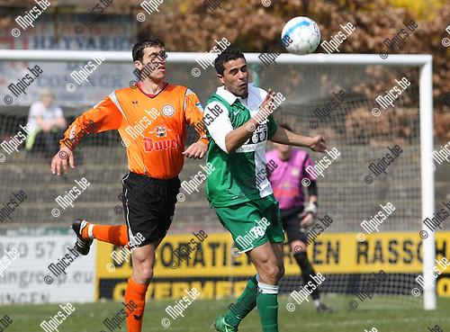 2009-04-05 / Voetbal / Willebroek-Meerhof - RC Mechelen / Vladan Devic (L, W-M) met Marcos Lucas..Foto: Maarten Straetemans (SMB)