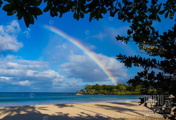 Kauna'oa Sunrise: A rainbow shines bright over Kauna'oa Beach, seen from Mauna Kea Beach, Hawai'i Island. Rainbows are common in Hawai'i but rare at Kauna'oa Beach.