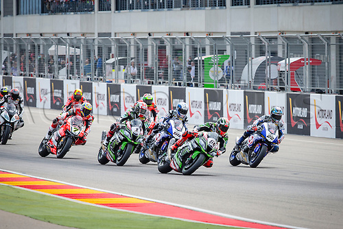 03.04.2016. Motorland, Aragon, Spain, World Championship Motul FIM of Superbikes. Tom Sykes #66, Kawasaki ZX-10R rider of Superbike  and Jonathan Rea #1, Kawasaki ZX-10R rider of Superbike in action during   the Race  in the World Championship Motul FIM of Superbikes from the Circuito de Motorland.