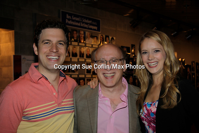 """As The World Turns Marnie Schulenburg and husband Zack Robidas  both star as """"Silvia"""" and Proteus"""" in The Two Gentlemen of Verona"""" and pose with Casey William Gallagher (managing director) on opening night at the Pennsylvania Shakespeare Festival 2014 in Center Valley, Pennsylvania. (Photo by Sue Coflin/Max Photos)"""