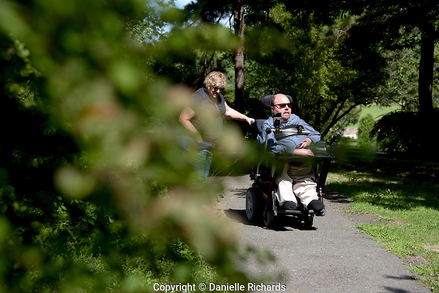 Daniel Florio, who is a quadriplegic as a result of spinal muscular atrophy, worries about the future once his parents are no longer able to help with his care.  He requires 24-hour care, which is only partially covered by Medicaid.  His parents cover the other hours. His mother Judy is by his side.
