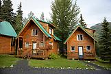 USA, Alaska, Coopers Landing, Kenai River, cabins located alongside the Kenai River