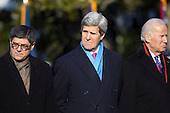 "United States Secretary of the Treasury Jacob ""Jack"" Lew, U.S. Secretary of State John Kerry and U.S. Vice President Joe Biden attend an arrival ceremony for Francois Hollande of France on the South Lawn of the White House in Washington, D.C., U.S., on Tuesday, Feb. 11, 2014. <br /> Credit: Andrew Harrer / Pool via CNP"