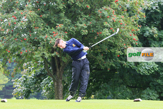 M Murphy (Clandeboye) on the 6th tee during the Ulster Semi-Final of the AIG Barton Shield at Knock Golf Club in Belfast on Sunday 23rd August 2015.<br /> Picture:  Thos Caffrey / www.golffile.ie
