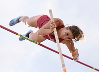 NWA Democrat-Gazette/CHARLIE KAIJO Victoria Hoggard performs the pole vault during the SEC track and field championships, Friday, May 10, 2019 at John McDonnell Field in Fayetteville.