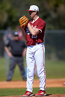 Indiana Hoosiers starting pitcher Caleb Baragar (45) looks in for the sign during a game against the Butler Bulldogs on March 6, 2016 at North Charlotte Regional Park in Port Charlotte, Florida.  Indiana defeated Butler 2-1.  (Mike Janes/Four Seam Images)