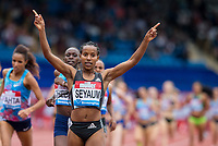 Dawit SEYAUM of Ethiopia celebrates her win in the 1500 metres with a time if 4.01.36 during the Muller Grand Prix Birmingham Athletics at Alexandra Stadium, Birmingham, England on 20 August 2017. Photo by Andy Rowland.