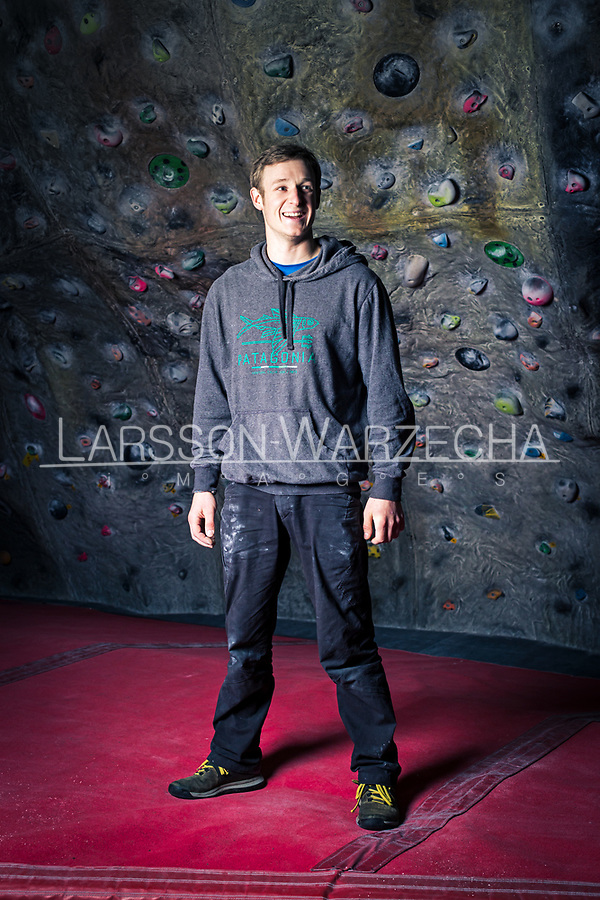 Pete Whittaker posing for portrait at The Foundry climbing wall on 6th March 2017, Sheffield, United Kingdom