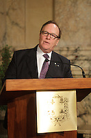 October 29 2012 - Montreal, Quebec, CANADA - Gerald Tremblay, Mayor of Montreal receive at City Hall  local athletes who took part in London 2012  Olympics and Paralympics games.  IN PHOTO : Marcel Aubut, President  Canadian Olympic Committee.