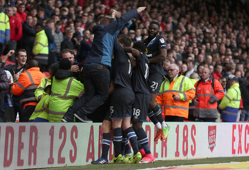 Blackburn Rovers' Tommie Hoban celebrates scoring his sides first and winning goal<br /> <br /> Photographer Rachel Holborn/CameraSport<br /> <br /> The EFL Sky Bet Championship - Nottingham Forest v Blackburn Rovers - Friday 14th April 2016 - The City Ground - Nottingham<br /> <br /> World Copyright &copy; 2017 CameraSport. All rights reserved. 43 Linden Ave. Countesthorpe. Leicester. England. LE8 5PG - Tel: +44 (0) 116 277 4147 - admin@camerasport.com - www.camerasport.com