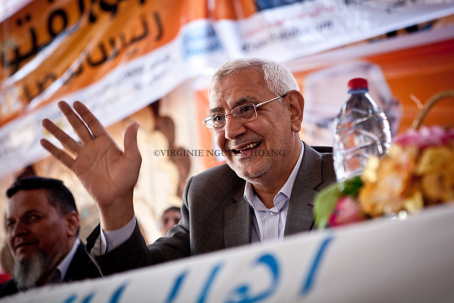 ©VIRGINIE NGUYEN HOANG/WOSTOK PRESS.Egypt,Cairo.10/05/2012..Abdel Moneim Abouel Fotouh Former Brotherhood leader, was visiting the region of Sharrqyia in the Delta for his presidential campaign...In July 2011, Abouel Fotouh was dismissed from the Muslim Bortherhood due to his intention to compete in the presidential poll, which defied the groups decision not to field a presidential candidate. He envisages a democratic system based on checks and balances between the government's three branches. He endorses a mixed-political system until the first presidential term is completed after four years. On the economy, he emphasizes human development as a means for prosperity. He also opts for increasing public resources and reducing expenditure. He also mentions the need to adopt progressive taxation, raise minimum wage and invest in public education.