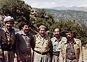 Iraq 1980 <br /> In Nawzeng, from left to right, 1st, Mullazem Omar Abdallah, 3rd, Jalal Talabani and 4th, Omar Sheikhmous <br /> Irak 1980 <br /> A Nawzang, de gauche a droite, 1er, Mullazem Omar Abdallah, 3eme, Jalal Talabani  et 4eme , Omar Sheikhmous