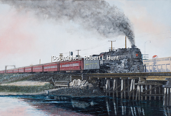 "A Pennsylvania Railroad K4 steam locomotive pulling a passenger train full of tourists on a run to the New Jersey shore beaches, circa 1949. Oil on canvas, 11"" x 16""."