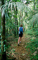 Karibik, Kleine Antillen, Grenada: Wandern im Grand Etang Nationalpark | Caribbean, Lesser Antilles, Grenada: Hiker in Rainforest at Grand Etang National Park