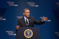 Washington, DC - March 9, 2015: U.S. President Barack Obama addresses the National League of Cities Congressional City Conference at the Marriott Wardman Park Hotel, March 9, 2015. The president's appearance is the first by a president since Bill Clinton in 1995.  (Photo by Don Baxter/Media Images International)
