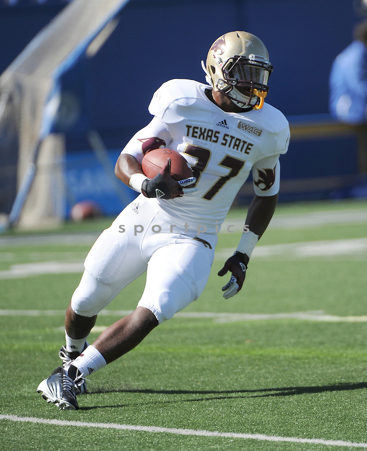 Texas State Bobcats Tyler Blades (37) in action during a game against San Jose State on October 27, 2012 at Spartan Stadium in San Jose, CA. San Jose State beat Texas State 31-20.