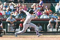 Salt River Rafters first baseman Tyler Nevin (2), of the Colorado Rockies organization, follows through on his swing during the Arizona Fall League Championship Game against the Peoria Javelinas at Scottsdale Stadium on November 17, 2018 in Scottsdale, Arizona. Peoria defeated Salt River 3-2 in 10 innings. (Zachary Lucy/Four Seam Images)