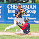 8 July 2014: Vermont Lake Monsters infielder Yairo Munoz turns a 4-6-3 double-play in the 7th inning against the Lowell Spinners at Centennial Field in Burlington, Vermont. The Lake Monsters rallied with two runs in the 9th to defeat the Spinners 5-4 in NY Penn League action. Mandatory Credit: Ed Wolfstein Photo *** RAW Image File Available ****