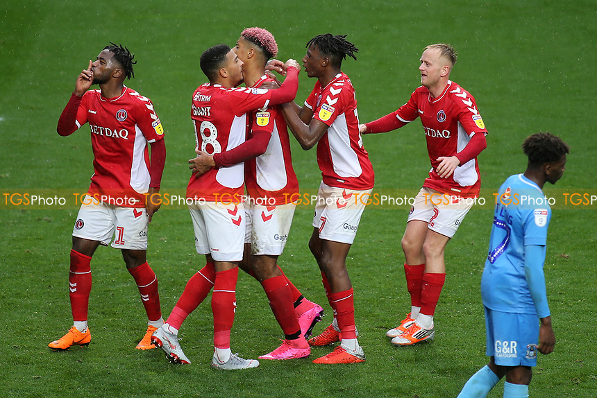 Charlton players congratulateLyle Taylor after scoring their opening goal during Charlton Athletic vs Coventry City, Sky Bet EFL League 1 Football at The Valley on 6th October 2018