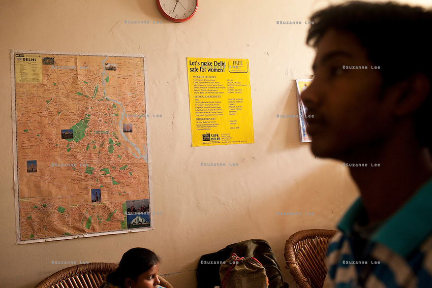 Maps, anti-abuse posters and social campaign posters adorn the walls of Azad Foundation.<br /> <br /> Currently training their 4th batch of students, Azad Foundation was set up by Meenu Vadera (Executive Director) in New Delhi, India, to train Indian women in driving services. Upon completion, these women work as personal drivers for a period of time before they upgrade their driving licences to commercial licences, allowing them to drive taxis. With this program, Azad aims to empower Indian women including those previously abused or trafficked, while making Delhi a safer place for women travelling in public transport. Photo by Suzanne Lee for Panos London