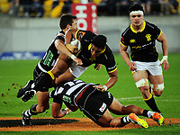 Julian Savea is tackled during the Mitre 10 Cup rugby union match between Wellington Lions and Hawkes Bay Magpies at Westpac Stadium, Wellington, New Zealand on Wednesday, 6 September 2017. Photo: Dave Lintott / lintottphoto.co.nz