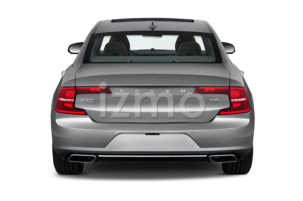 Straight rear view of 2018 Volvo S90 Inscription 4 Door Sedan Rear View  stock images