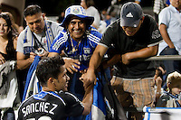 El Salvador National Team Captain, Ramon Sanchez acknowledges El Salvador fans in his first game with the Earthquakes. The San Jose Earthquakes tied DC United 2-2 at Buck Shaw Stadium in Santa Clara, California on July 25, 2009.