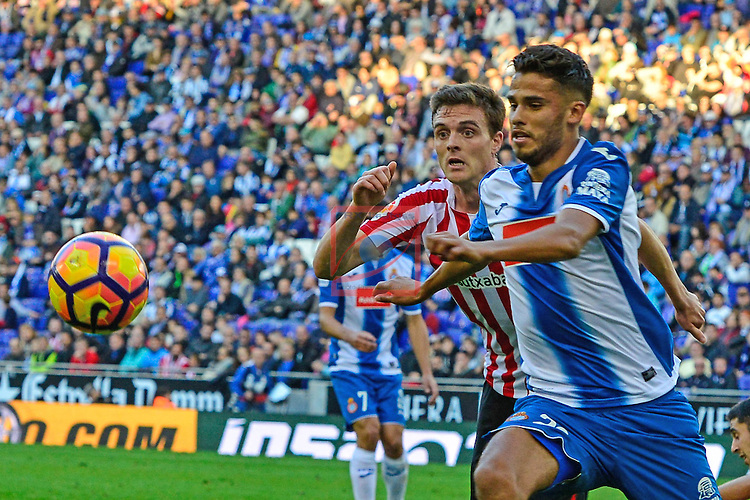 League Santander 2016/2017. Game: 11.<br /> RCD Espanyol vs Athletic Club: 0-0.<br /> Diego Reyes vs Javier Eraso.