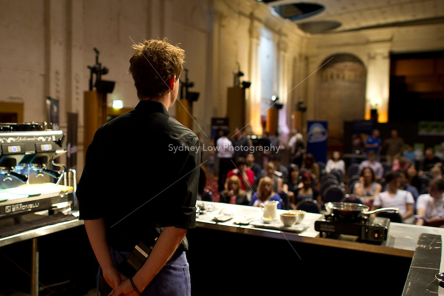 MELBOURNE, AUSTRALIA - JANUARY 09: TONY STRICKETT competing in the 2011 Latte Art Championship held at St Kilda Town Hall on January 9, 2011 in Melbourne, Australia. (Photo by Sydney Low / Asterisk Images)