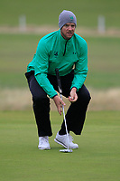Peter O'Keeffe from Ireland on the 10th green during Round 3 Foursomes of the Men's Home Internationals 2018 at Conwy Golf Club, Conwy, Wales on Friday 14th September 2018.<br /> Picture: Thos Caffrey / Golffile<br /> <br /> All photo usage must carry mandatory copyright credit (&copy; Golffile | Thos Caffrey)