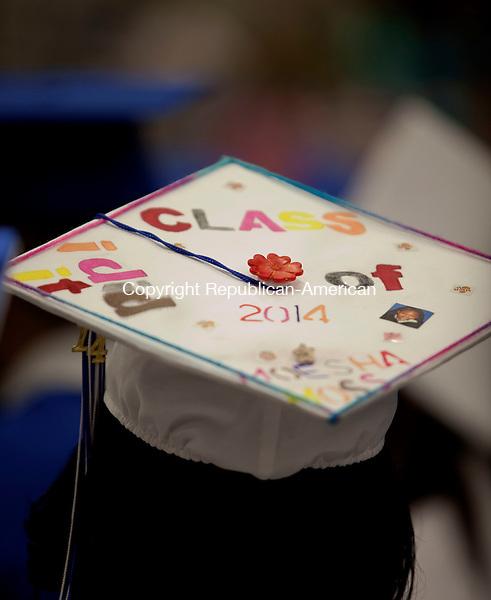 WATERBURY, CT-17 June 2014-061714BF13- The decorated cap of Crosby High School graduate Moesha Moss during graduation Tuesday night. Bob Falcetti Republican-American