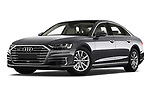 Stock pictures of low aggressive front three quarter view of a 2018 Audi A8 Base 4 Door Sedan