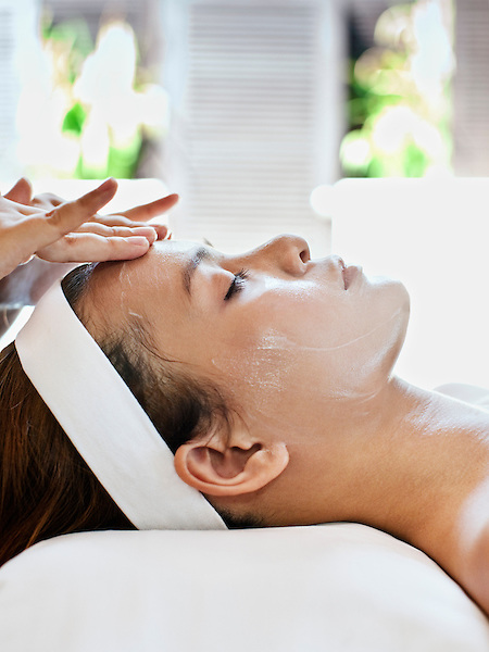 A woman receives a Visaya Facial, the signature facial treatment at Visaya Spa, FCC Angkor hotel, Siem Reap, Cambodia.