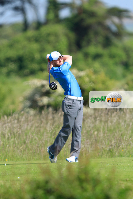 Eoghan O'Donovan (Craddockstown) on the 2nd tee during Round 1 of the East of Ireland in the Co. Louth Golf Club at Baltray on Saturday 31st May 2014.<br /> Picture:  Thos Caffrey / www.golffile.ie