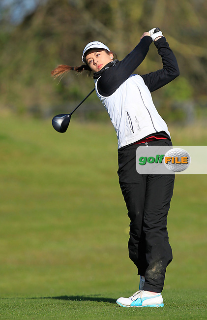 Rebecca Earl  (ENG) on the 1st tee during Round 3 of the Irish Girl's Open Stroke Play Championship at Roganstown Golf &amp; Country Club on Sunday 17th April 2016.<br /> Picture:  Thos Caffrey / www.golffile.ie